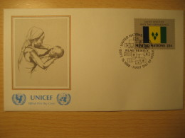SAINT VINCENT & GRENADINES New York 1989 FDC Cancel UNICEF Cover UNITED NATIONS UN NY Flag Series Flags Josette Norr - St.Vincent & Grenadines