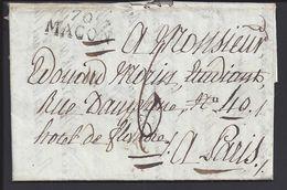 FR - 1821 - Lettre De Macon En Port Dû, Taxe Manuscrite 6 Décimes Pour Paris - B/TB - - Marcophilie (Lettres)