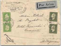 LETTRE DE NANCY  POUR MADAGASCAR PAR AVION AVEC BEL AFFRANCHISSEMENT  DULAC  1945  COVER - Marcophilie (Lettres)
