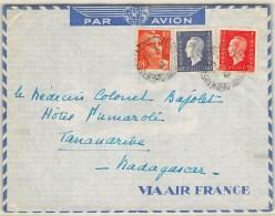 LETTRE DE MARSEILLE  POUR MADAGASCAR PAR AVION AVEC BEL AFFRANCHISSEMENT  DULAC  GANDON 1945  COVER - Postmark Collection (Covers)