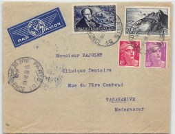 LETTRE DE PARIS  POUR MADAGASCAR PAR AVION AVEC BEL AFFRANCHISSEMENT  DIVERS ET GANDON 1948  COVER - Postmark Collection (Covers)