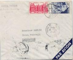 LETTRE DE PARIS  POUR MADAGASCAR PAR AVION AVEC BEL AFFRANCHISSEMENT  1948  COVER - Postmark Collection (Covers)