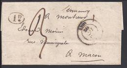 FR - 1842 - Lettre De Macon En Port Dû, Taxe Manucrite 3 Décimes B/TB - - Marcophilie (Lettres)