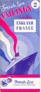 Brochure Dépliant Toerisme Tourisme - French Line Sailings - England France Normandie - Liste De Prix - Timetable - 1938 - Dépliants Touristiques