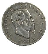 5 Lires - Italie - 1876 - Argent - TB+ - - 1861-1946 : Kingdom
