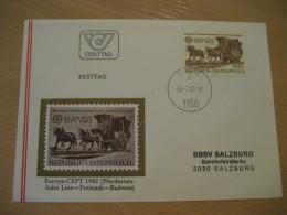 LINZ - FREISTADT - BUDWEIS Europa Cept WIEN 1982 FDC Cancel Cover AUSTRIA Stagecoach Horse - Diligences