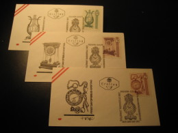 PENDULE Alte Uhr Yvert 1173/5 Wien 1970 FDC Cancel 3 Cover AUSTRIA Clock Clocks Watch - Relojería