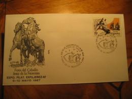 Horse Feria Del Caballo Exfiljerez JEREZ DE LA FRONTERA Cadiz 1987 Cancel Cover SPAIN - 1931-Hoy: 2ª República - ... Juan Carlos I