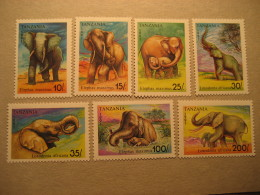 Asia & Africa ELEPHANTS Yvert 796/802 ** Cat 12,50 Eur TANZANIA Animals Fauna - Elephants
