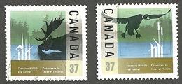 Sc. #1204 & 05 Wildlife Conservation Pair Used  1988 K632 - 1952-.... Règne D'Elizabeth II