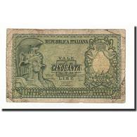 Italie, 50 Lire, KM:91b, 1951-12-31, B+ - [ 2] 1946-… : Repubblica