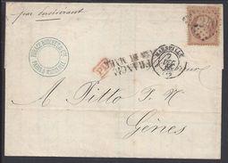 """FR -1866 - Empire 40 Ct Sur Lettre Marseille Gènes - Griffe """"FRANCA VIA DI MARE"""" Par Navire à Vapeur """"Persévérant"""" B/TB - Postmark Collection (Covers)"""