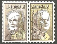 Sc. #662-63 Doctors Of Divinity, Church Founders CDC  Se-tenent Pr. Used  1975 K636 - 1952-.... Règne D'Elizabeth II