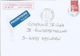 France 2002 BPM 519 Donaueschingen (Germany) Military Domestic Cover - Militaire Stempels Vanaf 1900 (buiten De Oorlog)