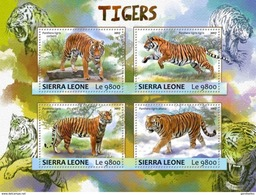 SIERRA LEONE 2017 SHEET TIGERS TIGRES WILD CATS RAUBKATZEN FELINS FELINES FELINOS FELINI WILDLIFE Srl17303a - Sierra Leone (1961-...)