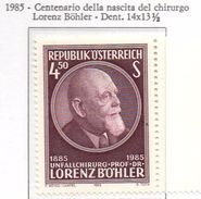 PIA - AUST -1985 : Centenario Della Nascita Del Chirurgo Lorenz Bohler  - (Yv 1629) - Medicina