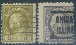US   1914  Sc#431 8c & #437 15c  Used  2016 Scott Value $10.25 - Etats-Unis