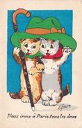 BE17-  FANTAISIE  DEUX CHATS DEGUISES  NOUS IRONS A PARIS ILLUSTRATEUR FORNING - Katten