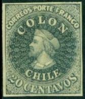 CHILE 1910 20c GREY GREEN DR. HUGO HAHN REPRINT - Chile