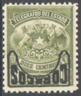 CHILE 1904 10c COAT OF ARMS WITH INVERTED OVERPRINT** (MNH) - Cile