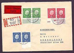 Schöne Mischfrankatur Bund/Berlin Heuss 1959 Bogenrand - Michel 300,00 €++ (587) - Used Stamps