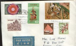 """Japan - Stamps,on Fragment, Envelope (facet) , Circulated In 1964 - Franking """"rich"""" - 1926-89 Emperor Hirohito (Showa Era)"""