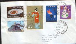 """Japan - Stamps,on Fragment, Envelope (facet) , Circulated In 1965 - Franking """"rich"""" - 1926-89 Emperor Hirohito (Showa Era)"""