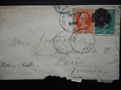 BRIEF NR 51-52 BOSTON 9-12 PAID >PARIS 21-12-1881 - 1847-99 Unionsausgaben