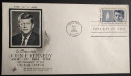 USA FDC - President John F. Kennedy In Memoriam First Day Cover Boston, Mass.  Cancel - 1964 - 1961-1970