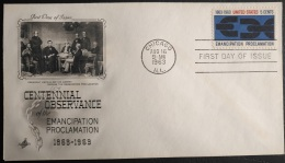 "USA FDC - August 16th, 1963 Centennial ""Emancipation Proclamation"" Chicago, ILL.  Cancel - 1961-1970"