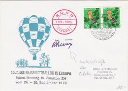 10 Jahre Heissluftballon In Europa - Inter.Meeting In Zumikon Vom 24 - 26.9.1976, Signature Du Pilote Du Ballon - Other Documents