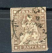 SUISSE - DIVERS N° Yt 26 Obli. - 1854-1862 Helvetia (Non-dentelés)