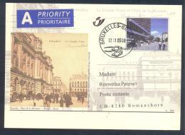 Belgium 2000 Priority Postal Stationery Card: Tourism Architecture Bruxelles; Place De La Monnaie; Munt; Postal Building - Ferien & Tourismus