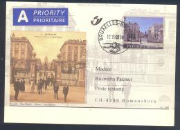 Belgium 2000 Priority Postal Stationery Card: Tourism Architecture Bruxelles; Place Royal; Koningsplein - Ferien & Tourismus