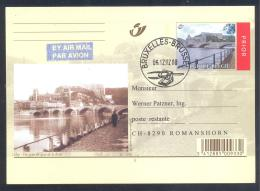 Belgium 2002 Air Mail Priority Postal Stationery Card: Tourism Architecture; Huy - Quai De La Batte; Bridge Pont Brücke - Ferien & Tourismus