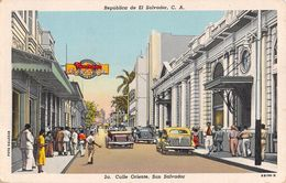 """06508 """"REPUPLICA DE EL SALVADOR - CALLE ORIENTE EL SALVADOR""""  ANIMATA, AUTO, CASA MUGDEN, FOTO SALAZAR.  CART SPED 1951 - Salvador"""