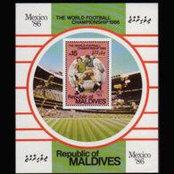 MALDIVES 1986 - Scott# 1209 S/S W.Cup Soccer LH - Malediven (1965-...)
