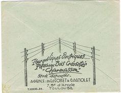 ENVELOPPE ILLUSTREE AU VERSO POTEAUX BOIS CREOSOTES CHARMASSON TOULOUSE EMA AU RECTO RABAT DECHIRE - 1921-1960: Modern Tijdperk