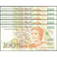 TWN - BRAZIL 228 - 100 Cruzeiros 1992 DEALERS LOT X 5 - Various Series - Signatures: De Mello & Éris XF+ - Brésil