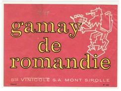 Rare // Etiquette // Gamay De Romandie, Ste Vinicole S.A. Mont Sur Rolle, Vaud // Suisse - Etiquettes
