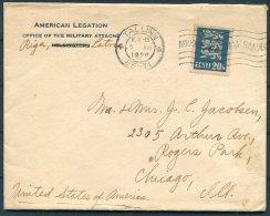 1929 Estonia American Legation Military Attache Riga Latvia Cover,Tallinn - Rogers Park, Chicago, USA - Estonia