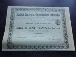 Générale D' EXPLOITATIONS COLONIALES (1906) - Aandelen