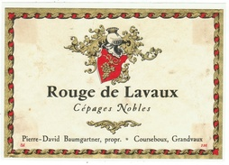 Rare // Etiquette // Rouge De De Lavaux Grandvaux,Courseboux, Pierre-David Baumgartner Vaud // Suisse - Etiquettes