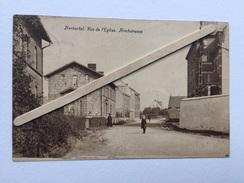"""HERBESTAL """" Rue De L'Église"""" (Kirchstrasse)animée, Publicité Sur Maison DEROUSSEAUX """"Edit J.BECKER,Membach . - Lontzen"""