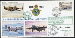 1993 Belize Royal Air Force RAF Chinook Helicopter Cover. Elephant, Bristol Beaufighter, Handley Page Halifax SIGNED - Belize (1973-...)