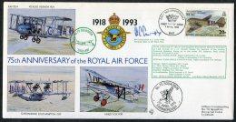 1993 BIOT B.I.O.T. Royal Air Force RAF Hercules SIGNED Cover. Vickers Vernon, Fairey Fox, Supermarine Southampton - Territorio Británico Del Océano Índico