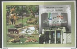 EGYPT, 2016, MNH, GIZA ZOO, LIONS, TIGERS, ELEPHANTS, CROCODILES, HIPPOS, BIRDS, GIRAFFES, SHEETLET - Félins