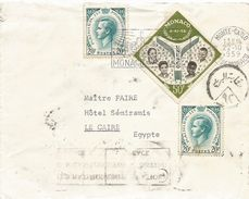 Monaco 1959 Monte Carlo UNESCO Censored Cover To Egypt - Monaco