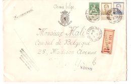 TP 110-124-125  S/L.recommandée Gouvernement Belge C.Le Havre Spécial 4/10/1915 V.N.Y.USA C.d'arrivée 1000 - Armée Belge