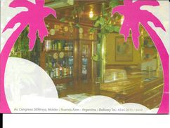 LA MIRAGE FAST DELIVERY SERVICE PIZZA CAFE BUENOS AIRES CPSM FEBRERO 2009 L'ARGENTINE CARTE PUBLICITAIRE RARE - Hotel's & Restaurants